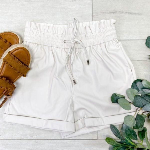 Faux Leather Paper Bag Shorts, Bone