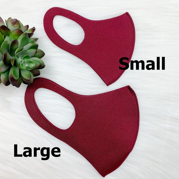 Solid Face Cover [[Set of 12]], Burgundy