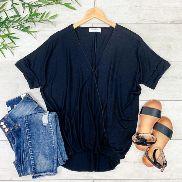 Draped Front Top, Black