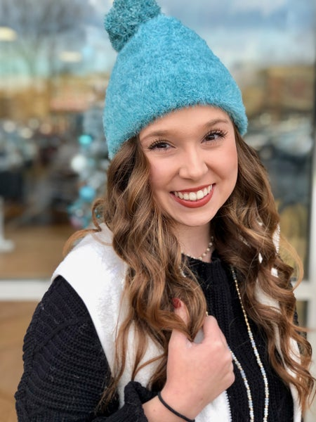 Soft Faux Fur Beanie, Teal