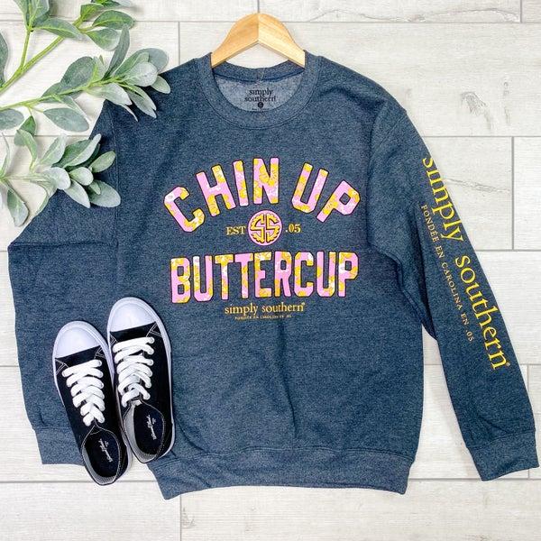 *Simply Southern* LS Chin up Buttercup Sweatshirt, Dark Grey
