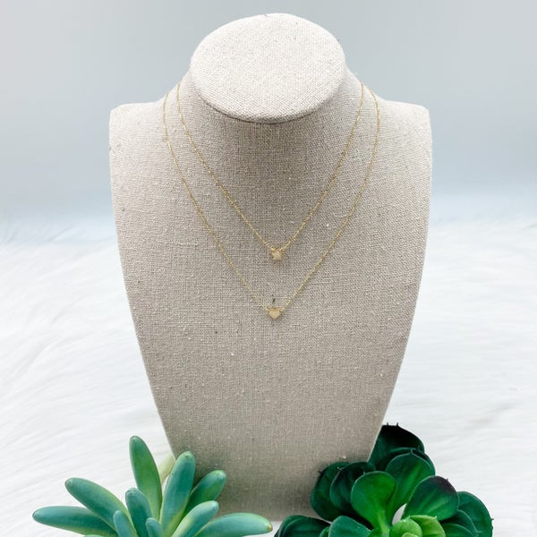 Short Heart + Star Charm Layered Necklace