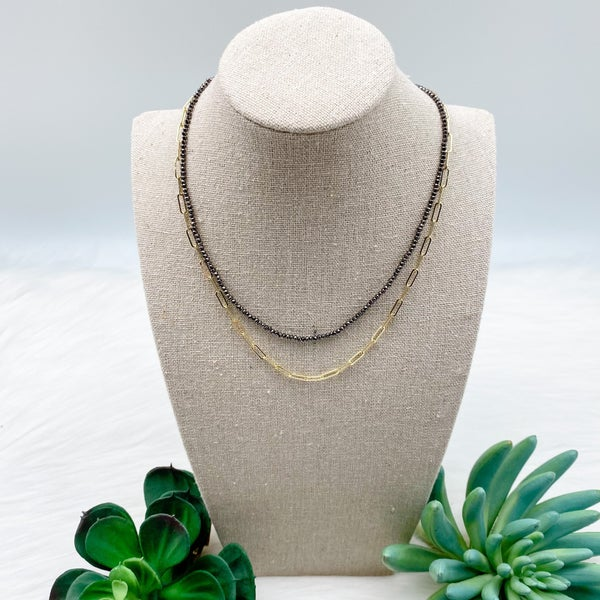 Bead and Chain Short Layered Necklace, Grey