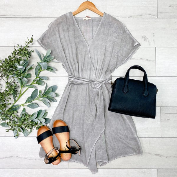 Mineral Washed Wrap Dress, Gray