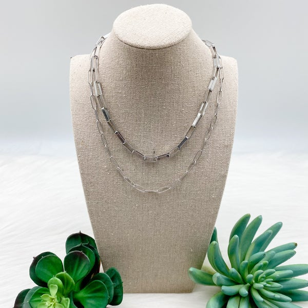 Short Layered Chain Necklace, Silver