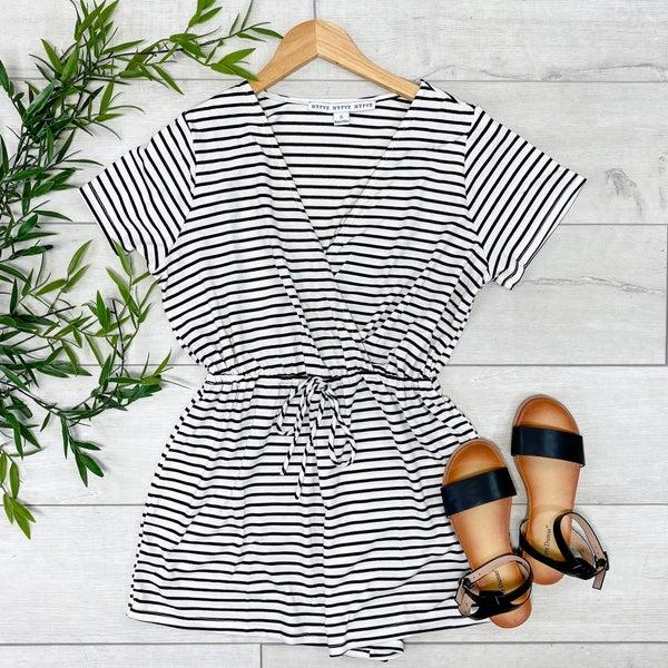 Striped Crossover Romper, White