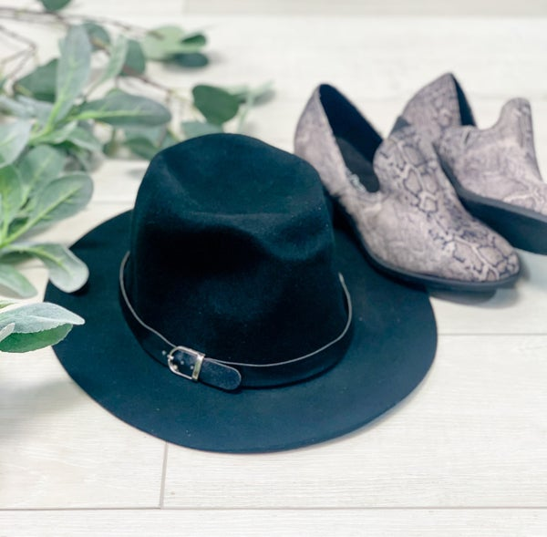 Buckle Strap Fedora, Black *Final Sale*