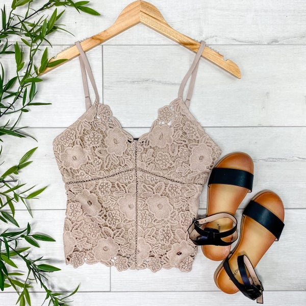 Lace Front Cami, Taupe