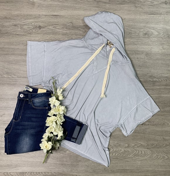 *Kendra's Collection* Wide Sleeve Knit Hoodie, Dove Gray