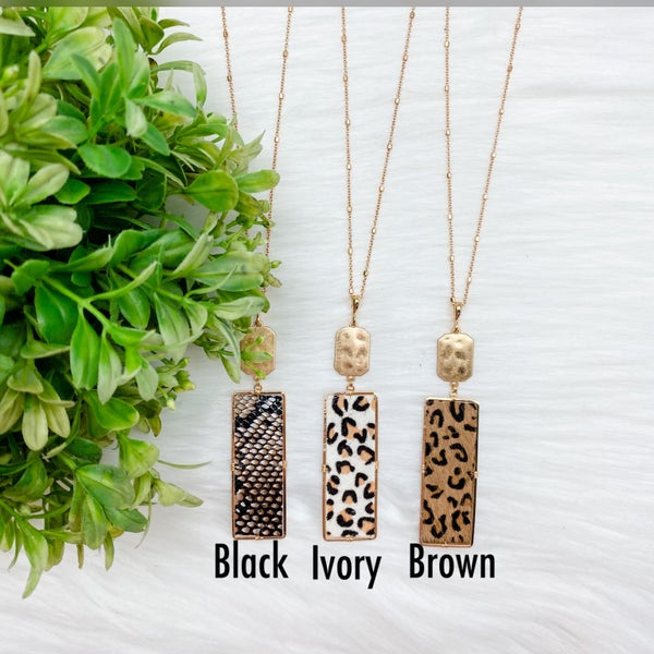 Animal Print Rectangle Long Necklace