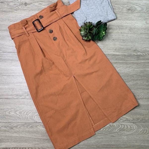 Midi Skirt W/Belt, Rust