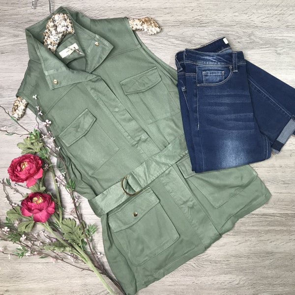 Button Up Cargo Vest, Forest