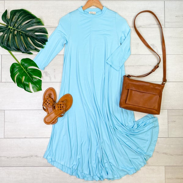 Solid Midi Swing Dress, Spring Blue