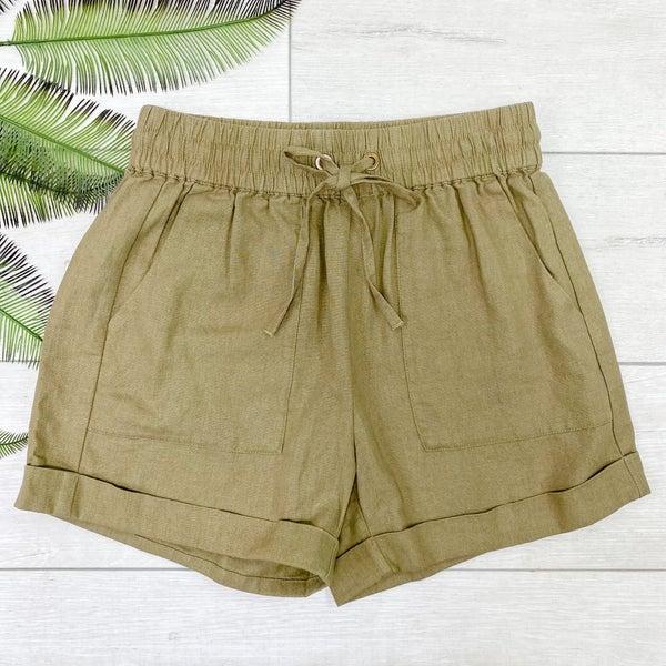 Drawstring Cuffed Linen Shorts w/Pockets, Khaki