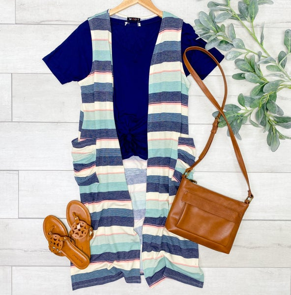 Striped Vest w/ Pockets, Mint
