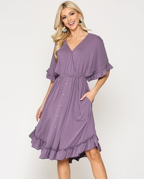 Modal Button Down Ruffle V-Neck Dress - DUSTY VIOLET