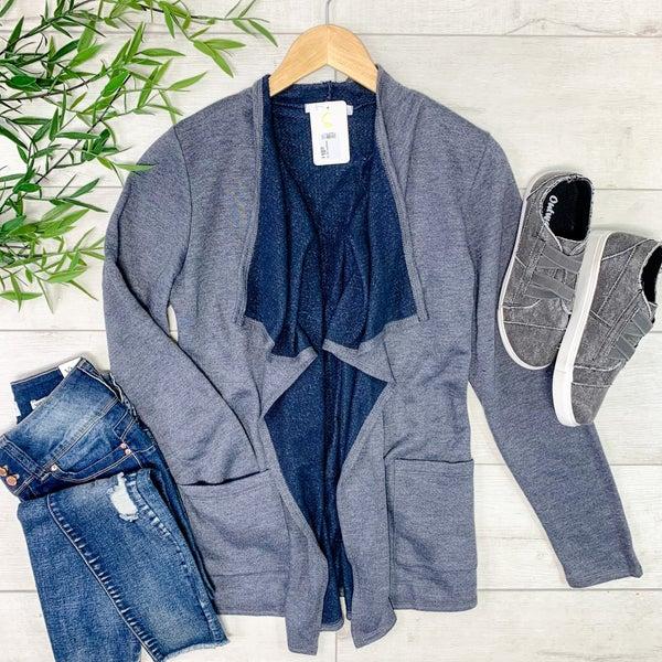 Flowy Knit Cardigan, Dark Grey