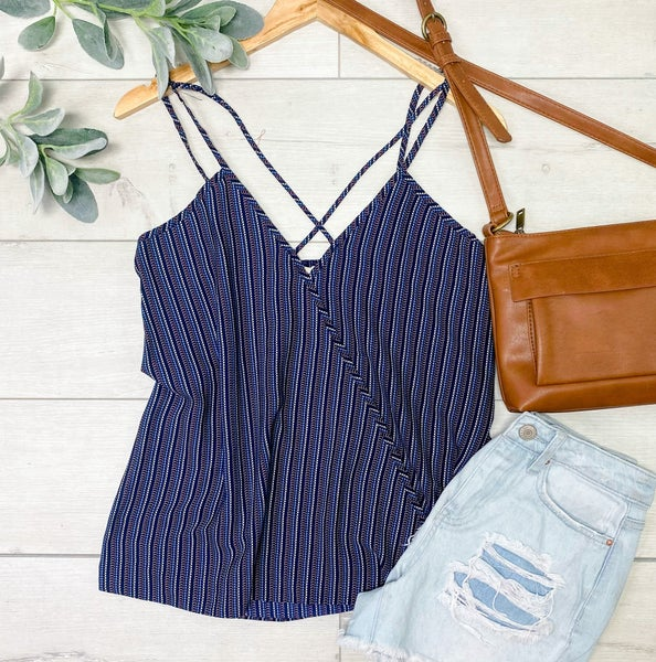Striped Crossover Tank Top, Navy