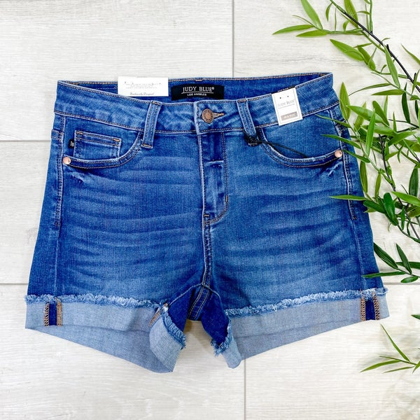 *Judy Blue* Cuffed Hem Denim Shorts, Medium