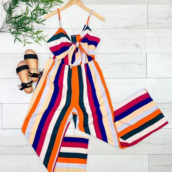 Strappy Striped Jumpsuit, Multi Color