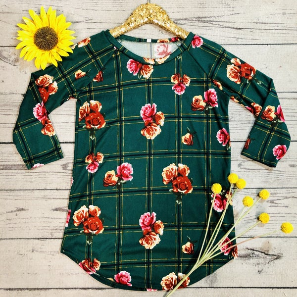 Plaid and Floral Tunic Top - GREEN (N) *LAST CALL - $5* [FINAL SALE]