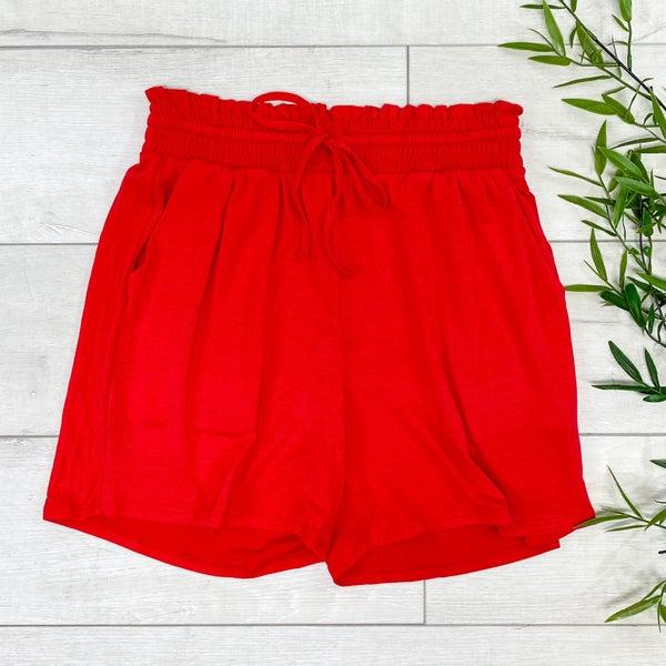 Drawstring Waist Paperbag Shorts, Ruby