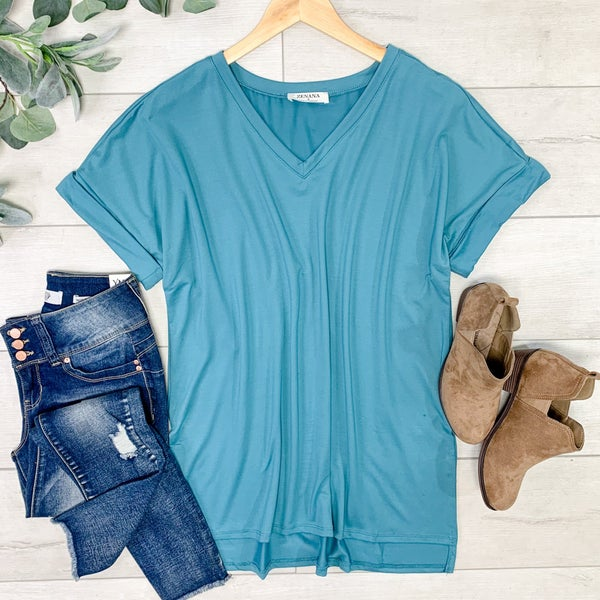 Solid Rolled Sleeve V-Neck, Dusty Teal