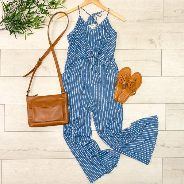 Strappy Striped Jumpsuit, Blue
