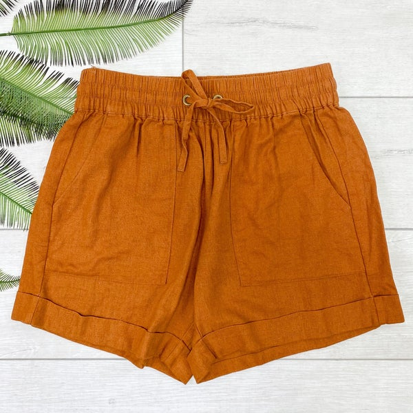 Drawstring Cuffed Linen Shorts w/Pockets, Almond