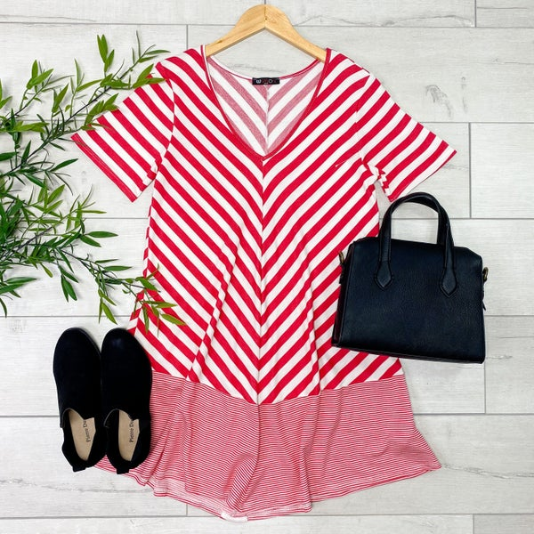 V-Neck Two Toned Striped Swing Dress, Oatmeal
