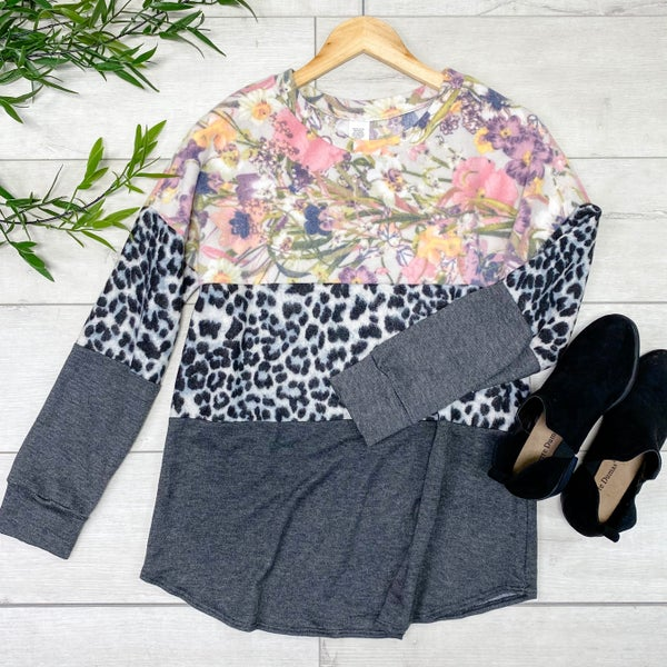 Floral and Animal Print Block Top, Gray