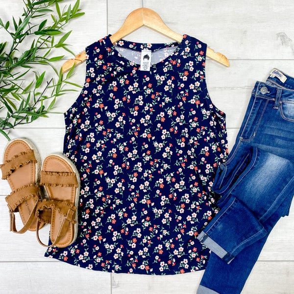 Small Floral Print Tank, Navy