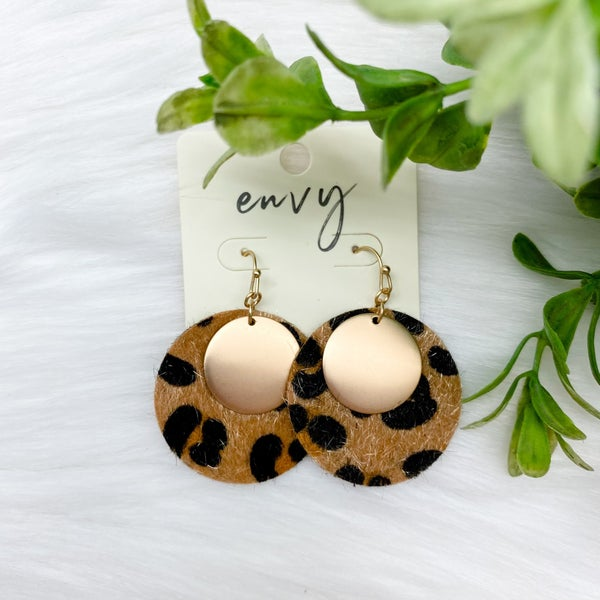 Circle Leopard Earrings w/ Gold Accent, Brown