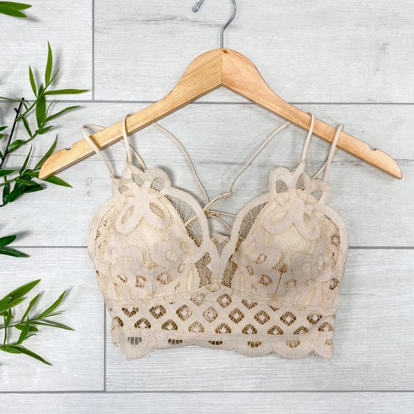 Lace Bralette, Taupe