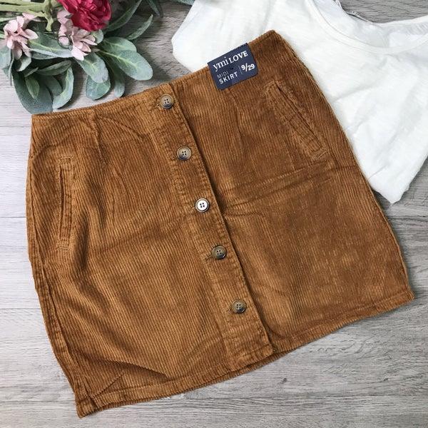 **YMI** Corduroy Button Front Skirt, Brandy