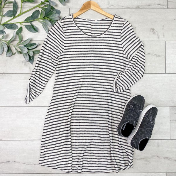 Striped Cuffed Sleeve Dress w/Pockets, Black/Ivory