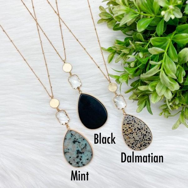Three Drop Stone Teardrop Long Necklace
