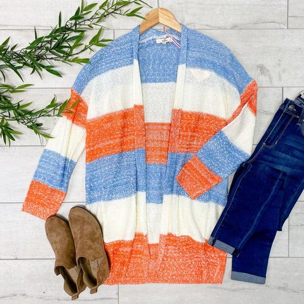 Color Block Cardigan, Blue Combo