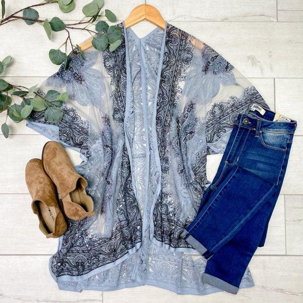 Paisley Print Sheer Kimono, Chambray [[LIVE]]