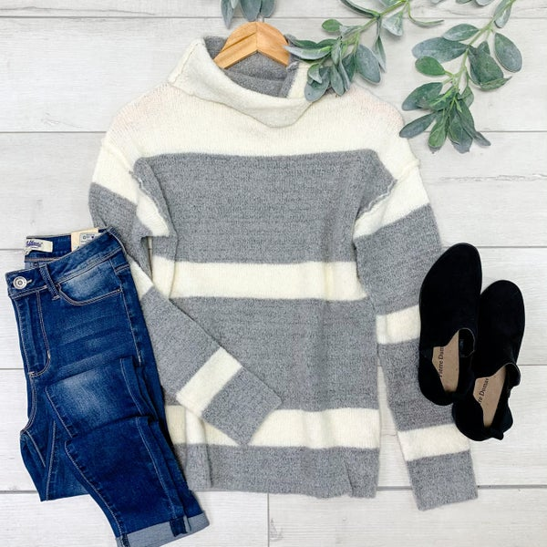 *Kendra's Collection* Turtle Neck Striped Sweater, Grey *Final Sale*