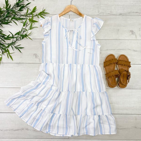 Striped Ruffle Sleeve Tiered Dress, Blue