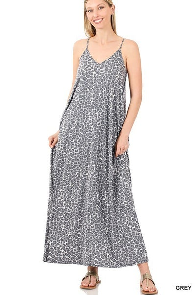 Leopard Print V-neck Maxi Dress - GREY