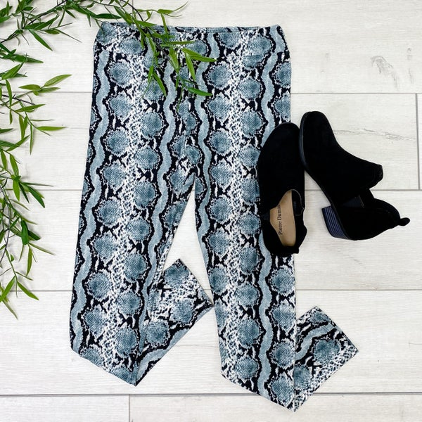 High Waisted Snake Print Leggings, Grey