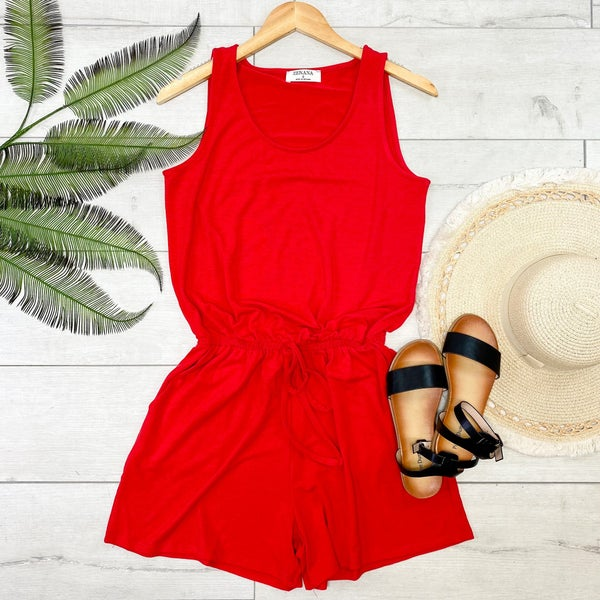 Solid Sleeveless Romper, Ruby
