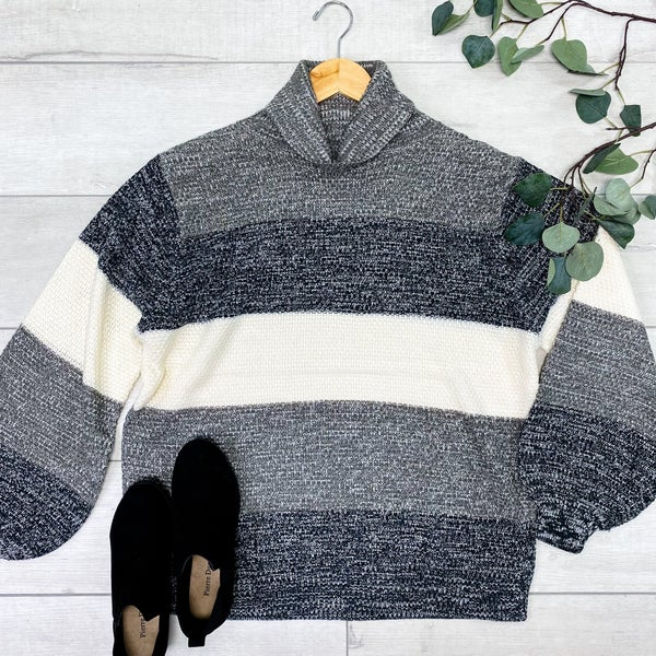 Color Block Striped Knit Turtle Neck Sweater, Charcoal Mix