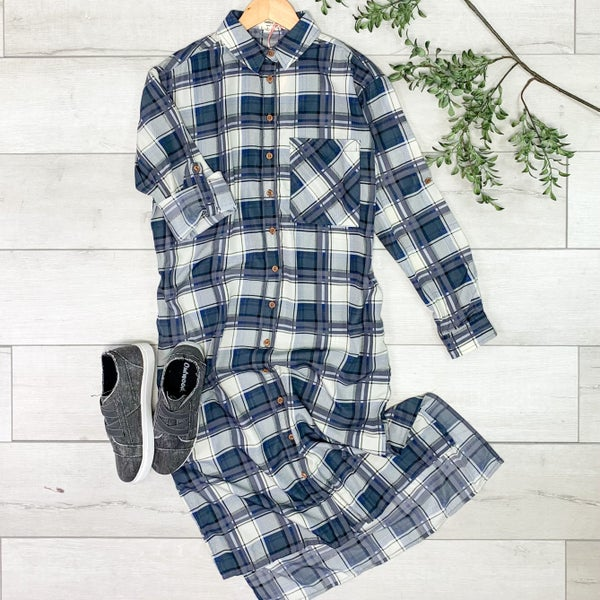 Plaid Button Down Dress, Charcoal