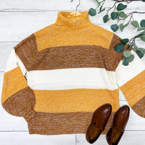 Color Block Striped Knit Turtle Neck Sweater, Mustard Mix