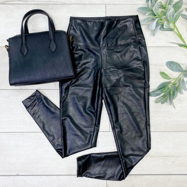 High Waisted Faux Leather Leggings, Black
