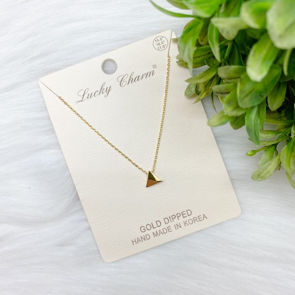 Short Triangle Pendant Necklace, Gold