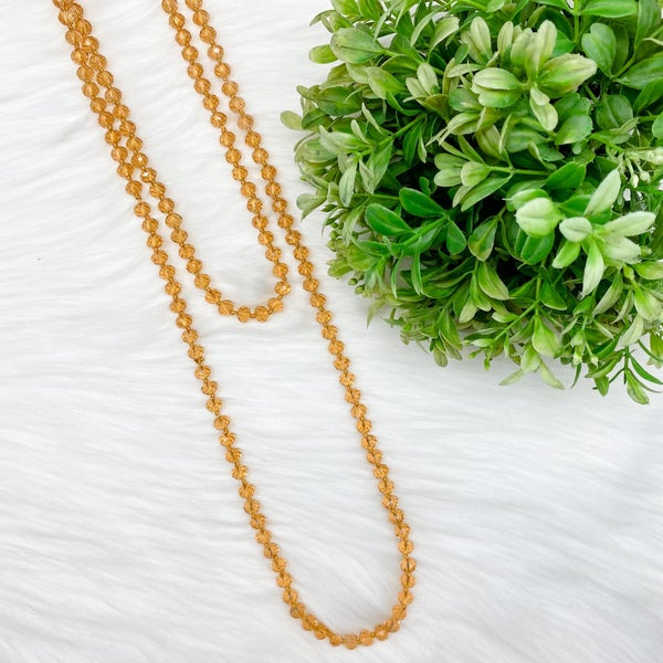 "Crystal Beaded 60"" Long Wrap Necklace, Amber *Final Sale*"